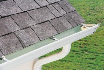 Gutters and mounts are available at home centers and many building supply outlets.