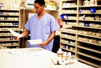 Pharmacy technicians perform routine duties such as receiving and filling prescriptions.
