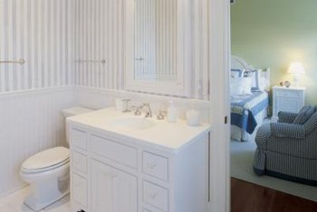 Water-resistent materials have made wainscoting a viable option for bathrooms.