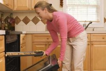 The oven door can be removed for cleaning or parts replacement.