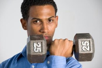 Burn off calories with a high-intensity workout that includes dumbbells or kettlebells.
