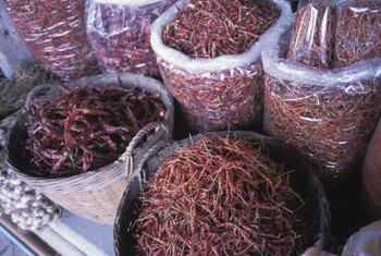 Dried peppers add heat to Asian and Mexican dishes.