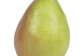 Comice pears are green to yellow, with an occasional splash of red.