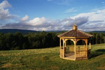 With an open-rail gazebo, install an upper and lower or a single mesh piece on each side.