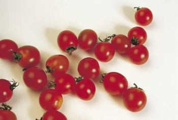 Keeping cherry tomatoes off the ground by tying them to supports makes them easier to pick.