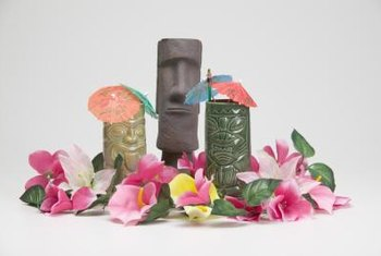 Use tiki-style decorations and exotic flowers to craft luau centerpieces.