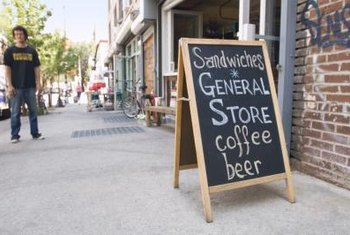 Sidewalk signs help promote a business.