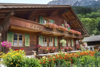You'll find a lot of natural and unfinished woods in Swiss chalets or when decorating in the style.
