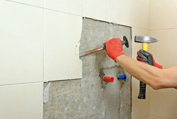 How to Remove Ceramic Tile Glue From a Wall