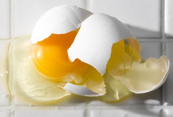 A broken egg contains difficult-to-remove proteins.