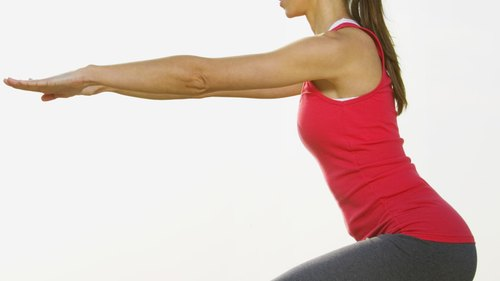<p>Practicing good form is important. When squatting, keep your knees over your toes and arms out for balance.</p>