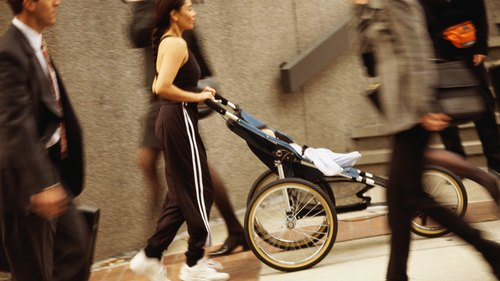 <p>Use a jogging stroller and jog or add intervals to your stroller-pushing workout.</p>
