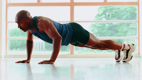 <p>The pushup position works the core muscles, biceps, triceps, pectorals and shoulders.</p>