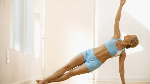 <p>The side plank engages the core muscles.</p>