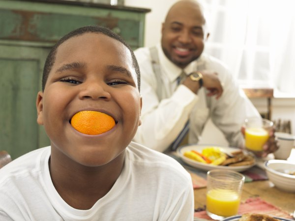 A medium orange supplies a young child with all his daily vitamin C.