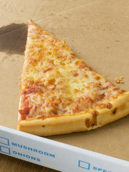 The cheese adds protein to your slice of pizza.