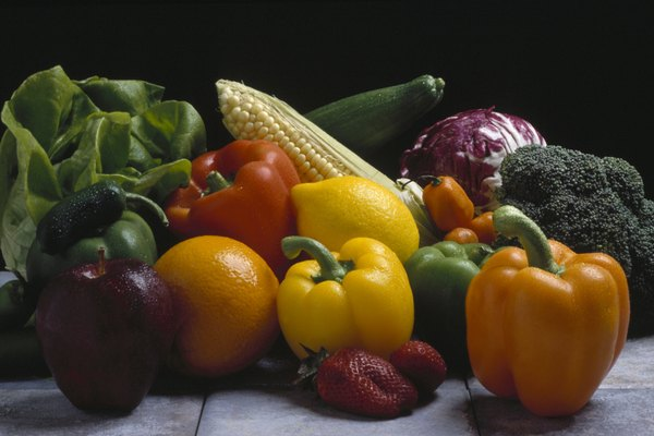 Fruits and vegetables provide fiber.