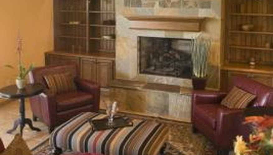 Interior Decorating With Brown Cream Red And Blue